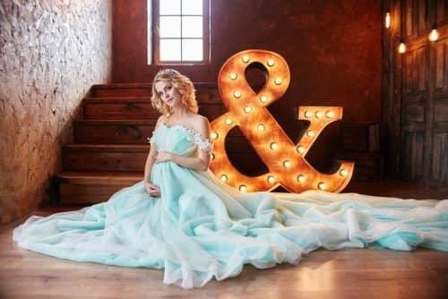 Небесное свадебное платье
