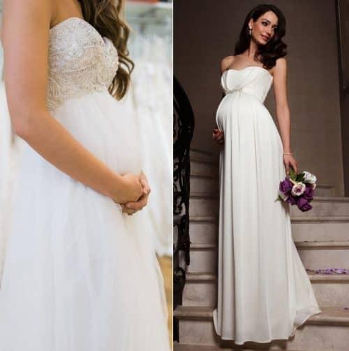 Свадебное платье с оголенными плечами
