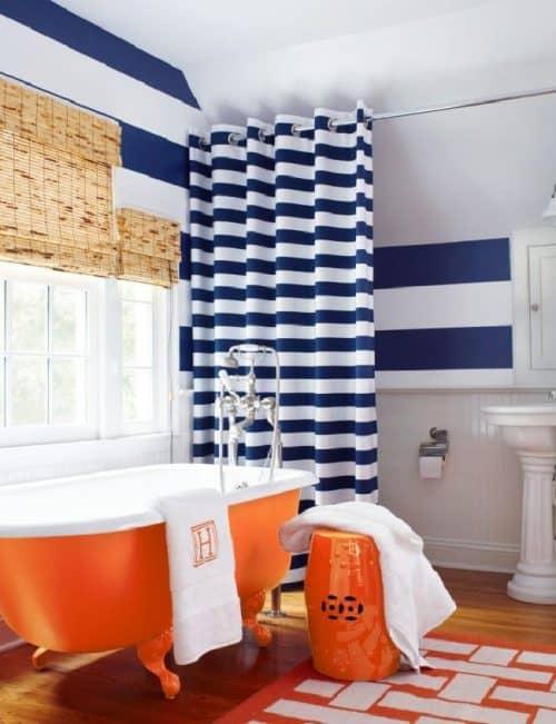 Сочетание синего и оранжевого в интерьере