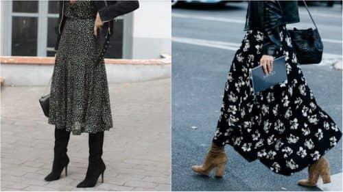 Сочетание сапог с платьем