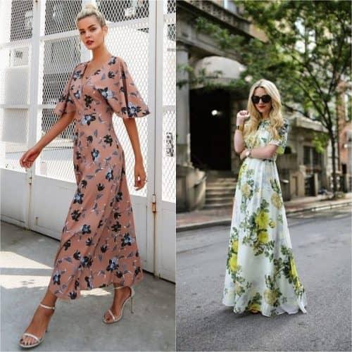 Длинные платья с цветочным принтом